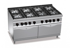 8 BURNER GAS COOKER ON 2 2/1 GAS OVEN