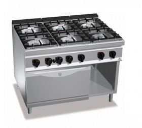 6 BURNER GAS COOKER ON 2/1 ELECT. OVEN
