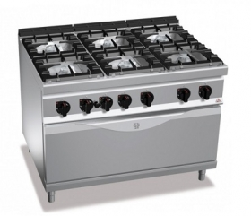 6 BURNER GAS COOKER ON LARGE GAS OVEN