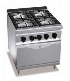 4 BURNER GAS COOKER ON 2/1 ELEC. OVEN