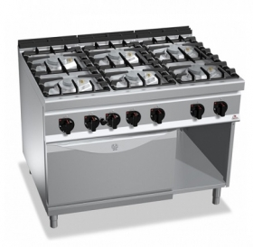 6 BURNER GAS COOKER ON 1/1 ELECT. OVEN