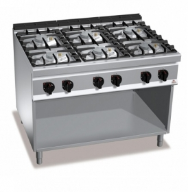 6 BURNER GAS COOKER ON CABINET